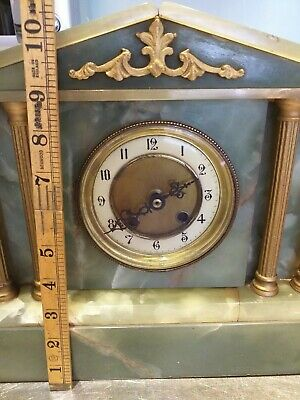 ANTIQUE mantle mantel clock green marble onyx VICTORIAN  spare ; CASE DIAL HANDS