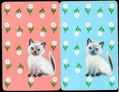 Cat/Kittens Swap/Playing Cards X2 With Flowers Excellent Condition