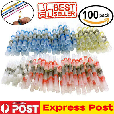 100Pcs Solder Sleeve Heat Shrink Wire Butt Splice Connector Waterproof AU Stock