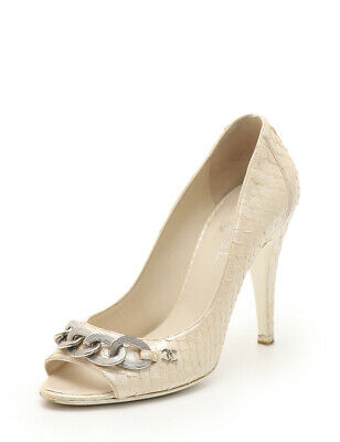 9762bcffba4c CHANEL Interlocking CC Mark logo Open-toe pumps Python leather gold beige  chain