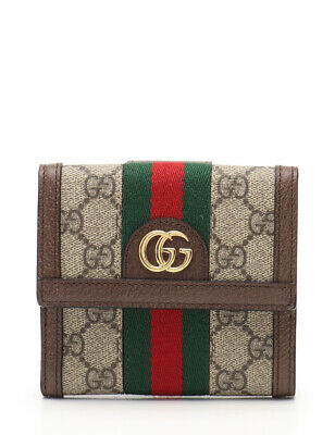 b18fedfa6ea GUCCI Ophidia GG French flap wallet sherry line purse PVC leather beige  brown