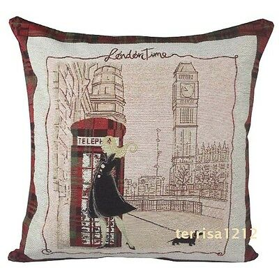 Retro Vintage London Big Ben Street Girl Knitted Pillow Case Cushion Cover 18''