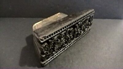 Antique 19thc arts crafts carved wooden printing block border pattern textile #2