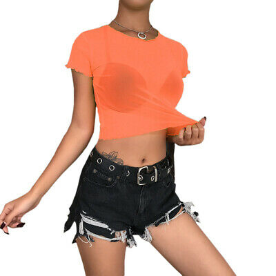 Women Sexy Sheer Mesh T-Shirt Casual Tulle Short Sleeve See Through Crop Tops