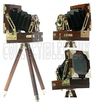 Vintage Old Folding Wooden Brown Camera Desktop Home & Office Decor Replica Gift
