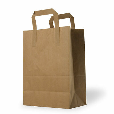 Large - Brown Kraft Paper Sos Food Carrier Bags With Handles -Party Takeaway-