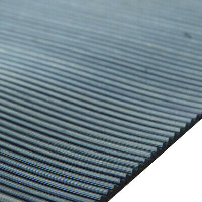 Ribbed Rubber Matting 1m Wide x 3mm Thick Anti Slip for Garages, Kennels, Vans