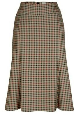 Cl14# Mona Checked Skirt Light Brown/Olive Size Uk 12S Rrp £89