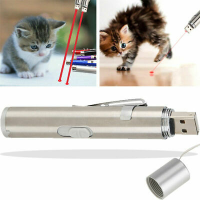 2 in 1 Pet Play Funny Cat Toy LED Light Red Laser Pointer Pen USB Rechargeable