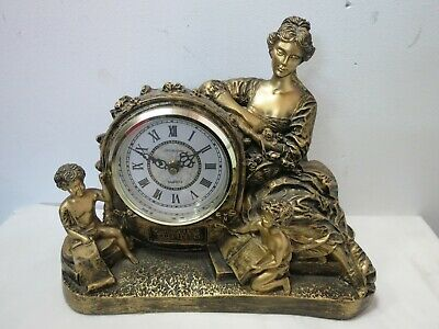 Antique Style Wellington Ornate Matt Gold Mantle Clock - 34A