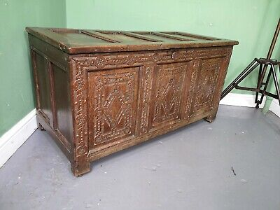 An Antique Late 18th Century Carved Oak Ottoman Chest Blanket box ~Delivery Avai