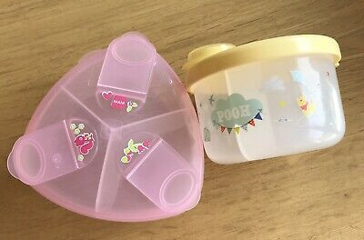 Pink MAM Milk Powder Pot Dispenser And Disney Milk Powder Pot Dispenser