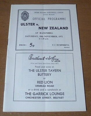 Ulster v New Zealand, 18/11/1972 - Touring Match Programme.