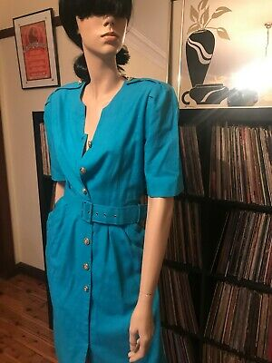 Vintage 80s Katies Blue Secretary Dress with Yacht Vibes