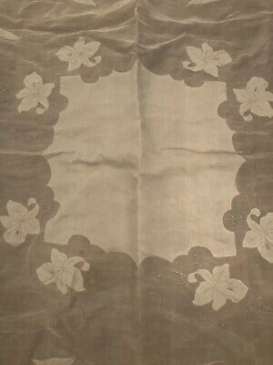 Vintage Linen Tablecloth with Flowers White And Gray 50x48 Square beautiful!