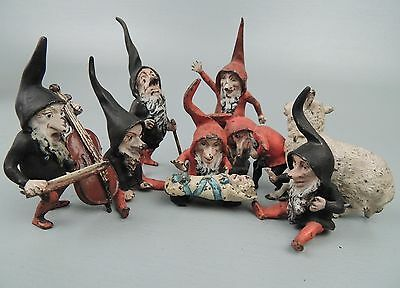 Rare Antique Austrian Bronze Set Snow White 7 Dwarves Brothers Grimm - gnomes BR