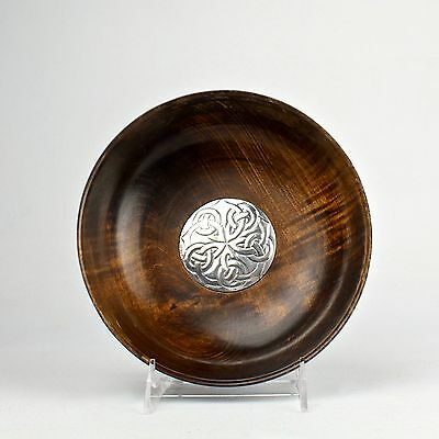 Scottish Arts & Crafts Wooden Bowl w Sterling Silver Mount - Eliza H Kirkwood SL