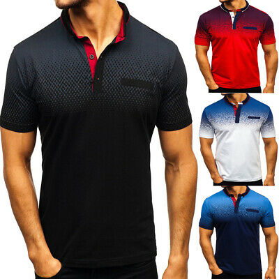 Fashion Men   Shirt Short Sleeve Embroidered Striped Cotton T Shirt Top