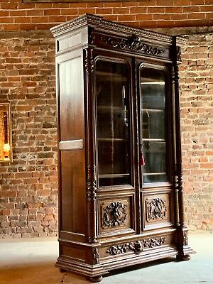 Antique French Bookcase Vitrine Heavily Carved Solid Oak 19th Century Circa 1890
