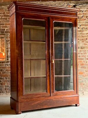 Antique French Bookcase Vitrine Glass Cabinet Mahogany 19th century 1875 No.2