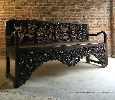 Antique Bench Hall Seat Settle Oriental Heavily Carved 20th Century 1900s