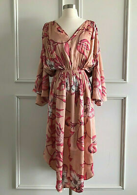 country road : floral print full sleeve fluid pink dress size:6.10.12.14.16 $249