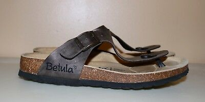 93c5b854ad3 Birkenstock Betula Gizeh T Strap Thong Leather Sandals Womans 8 Brown