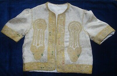 Fabulous Antique Ottoman Gold Brocade Elaborately Embroidered Small Jacket