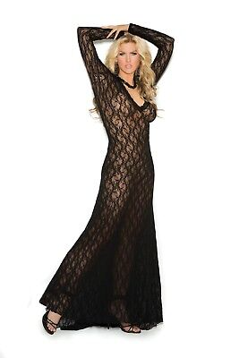 b3087caef08 Black long sleeve Lace Gown with deep V front  1949X Elegant Moments sz  3X