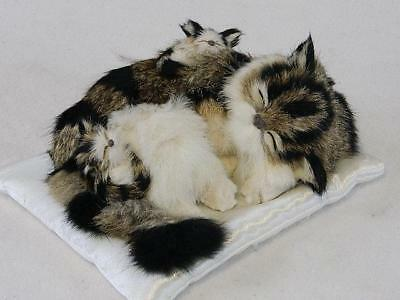 "Realistic Cat 9"" With Kittens Sleeping On Pillow - Fur Companion"