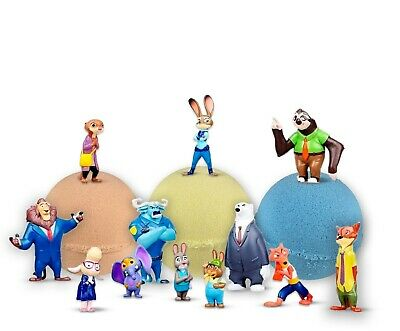 3 Bath Bombs with Zootopia Toys Inside for Kids – Natural & Safe Bombs Gift