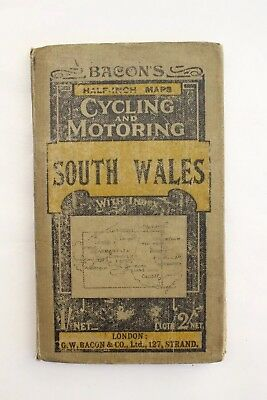 Bacon's Cycling & Motoring Road Map South Wales. c1920