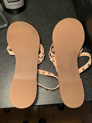 7735d01f23c TORY BURCH PATOS Studded Sandal Natural Calf Leather Size 10 BRAND ...