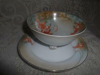 Antique Hand-Painted German Porcelain Regina Ware 3-Ftd.Whip Cream Bowl & Saucer