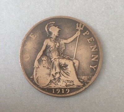 1919H - George V, One Penny Coin, Rare Year, Heaton Mint, Conditions F