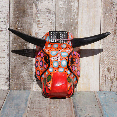 Mexican Wooden Folk Art Animal Mask - Bull Orange