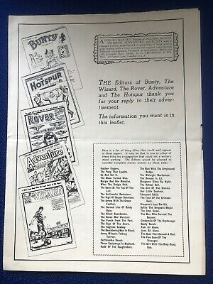 D.C. THOMSON MAILER REPLY TO AD FOR WRITERS BUNTY HOTSPUR WIZARD ROVER 1950s