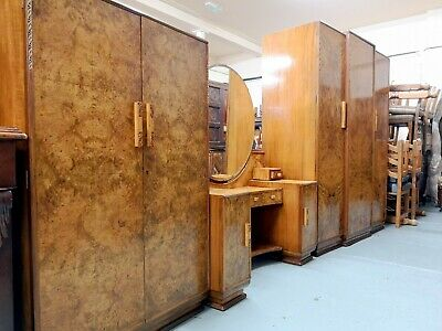 An Art Deco 4 Piece Bedroom Suite Wardrobe Dressing Table ~Delivery Available~