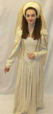 Medieval / Tudor Lady Cream and gold  COSTUME FOR HIRE ONLY size 8  Deluxe