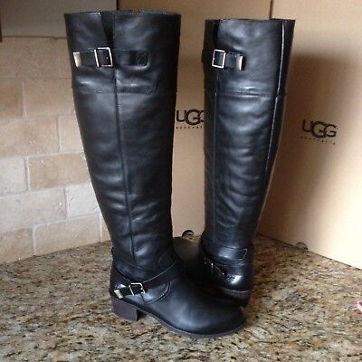 4b78a51165f UGG BESS BLACK Leather Over the Knee High Buckle Boots Size US 8.5 ...