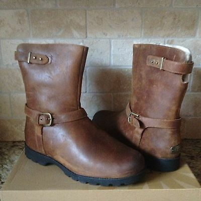 546258d2693 UGG GRANDLE CHESTNUT Water-Resistant Leather Sheepskin Boots Size Us 12  Womens