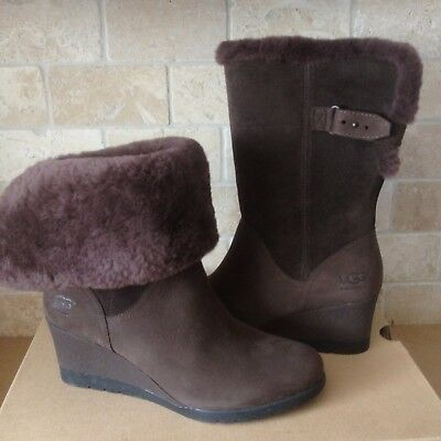 8c3ff4d88a5 UGG AUSTRALIA EDELINA Boots Chestnut Waterproof Wedge Boots Women's ...