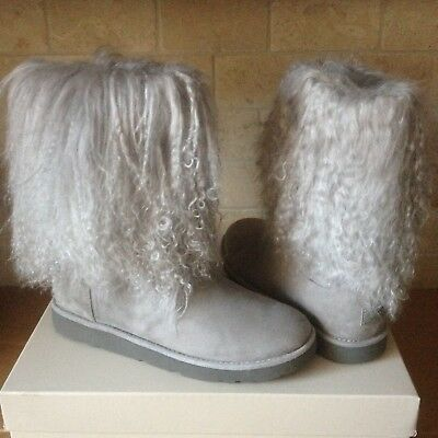 f17c0c8ad91 UGG LIDA MONGOLIAN Fur Cuff Natural Suede Classic Short Boots Size ...