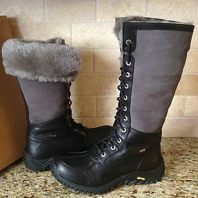 625bd6b3ab9 UGG ADIRONDACK TALL Black Leather Waterproof eVent Snow Boots Size ...