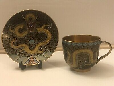 Rare Early 20th Century Gold Plated Dragon Pattern Cloisonne Cup And Saucer