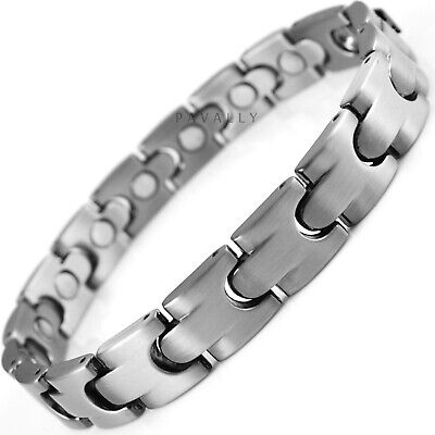 MAGNETIC BRACELET pain relief carpal tunnel arthritis pewter silver Gents Mens