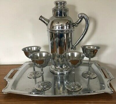 Antique Art Deco Cocktail Tray Goblets Pitcher Shaker Vintage Bar Chrome Martini