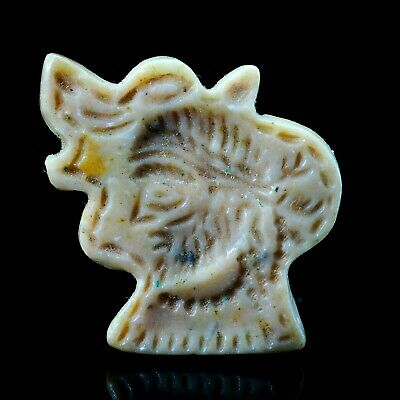 Original  ANCIENT OLD White Agate King face Intaglio In Tiger Head Bead pendant