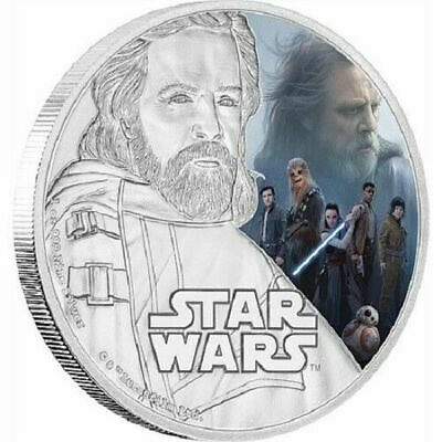 Star Wars 2017 Silver $2 Proof Coin 1 oz The Last Jedi,  Luke Skywalker, OGP
