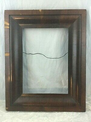 Antique Vintage Solid Dark Wood Rich Walnut Beveled Picture Frame 16x20 in